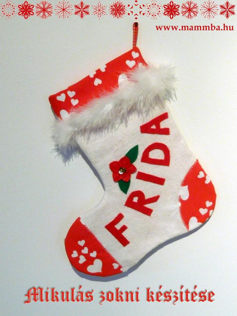 Egyedi, névre szóló Mikulás zokni készítése